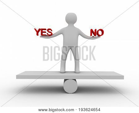balance yes and no 3d . 3d  rendered illustration