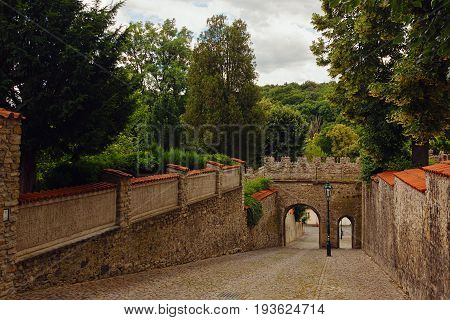 KUTNA HORA CZECH REPUBLIC - JULY 03 2016: Preserved tower wall and main gate