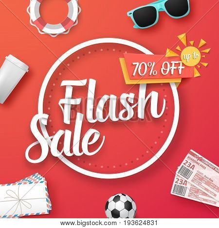 Illustration of Flash Sale Vector Poster. Bright Sale Flyer Template with Travel Icons