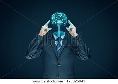 Brain with printed circuit board (PCB) design and businessman representing artificial intelligence (AI), data mining, machine learning and another modern computer technologies concepts.