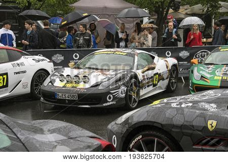 Riga, Latvia - July 01, 2017: Ferrari 458 (2014) from Gumball 3000 Race