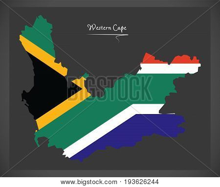 Western Cape South Africa Map With National Flag Illustration