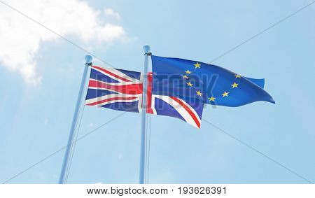 Great Britain and European Union, two flags waving against blue sky. 3d image