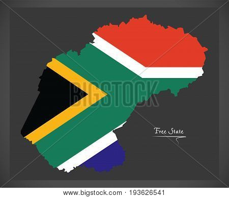 Free State South Africa Map With National Flag Illustration