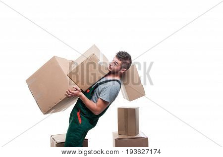 Mover Guy Carrying Bunch Of Heavy Boxes And Falling