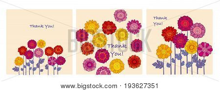 Thank you card vector illustration. Decorative naive flowers motif for invitation, poster, background.