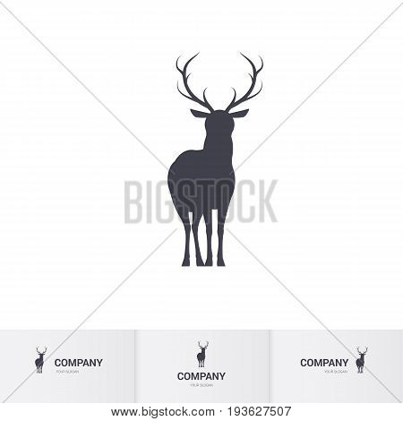 Standing Horned Deer Silhouette for Mascot Logo Template on White