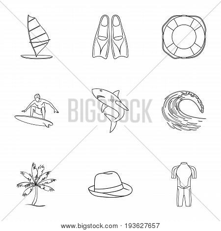 A collection of pictures on the theme of the beach, the sea, surfing. Rescuers of the beach.Surfing icon in set collection on outline style vector symbol stock web illustration.