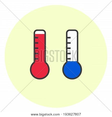 Flat simple hot and cold temperature icons. Minimalistic weather thermometer symbol