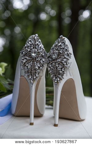 High-heeled shoes with crystal Swarovski stones. Wedding shoes