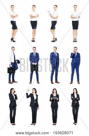Set of business people isolated on white.