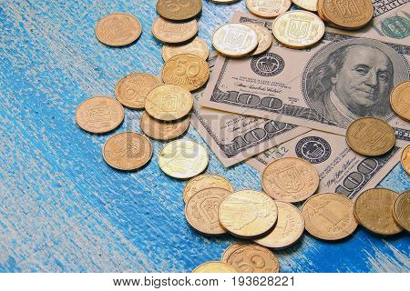 Ukrainian Coins And Us Dollars