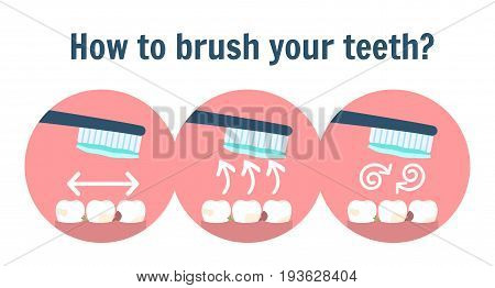 How to brush dirty teeth guide. Teeth with food pieces and toothbrush with toothpaste. Dentist clean teeth symbol. Personal and medicine dental hygiene sign. Correct tooth brushing infographic