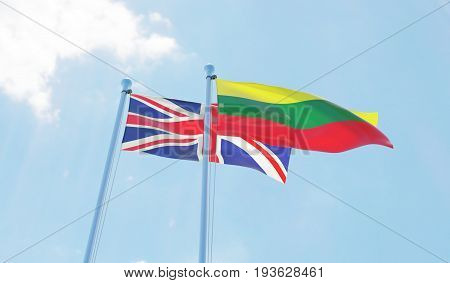 Great Britain and Lithuania, two flags waving against blue sky. 3d image