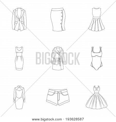 Collection of icons of womens clothing. Various women's clothes for work, walking, sports. Women clothing icon in set collection on outline style vector symbol stock web illustration.