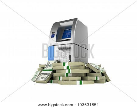 ATM surrounded by 100 dollar bankrolls Bank Cash Machine in pile of money american dollar bills isolated on white background 3d without shadow