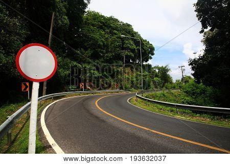 Blank Sign Of Curve Street, Milestone