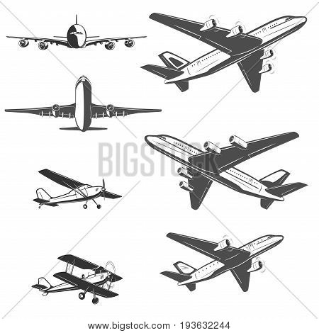 Travel by plane, quickly and safely. A set of labels for advertising companies for air transportation. Large airliner and small biplane