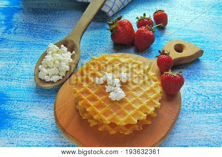 Waffles And Fruit, Strawberries And Cherries