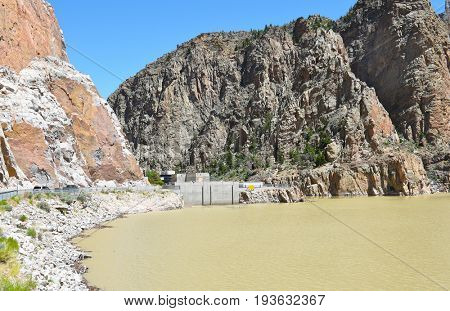CODY, WYOMING - JUNE 24, 2017: Buffalo Bill Dam and Reservoir, The dam on the Shoshone River is named after the famous wild west figure William Buffalo Bill Cody.