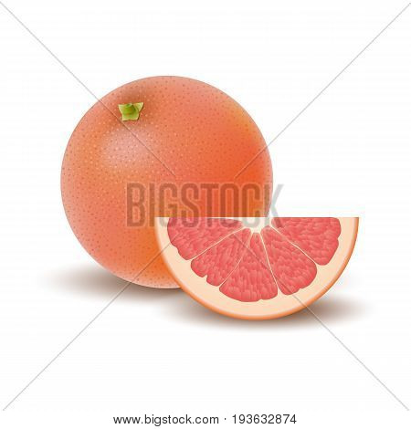 Isolated colored group of grapefruits slice and whole juicy fruit with shadow on white background. Realistic citrus