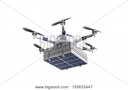 modern drone with solar panel 3d rendering image