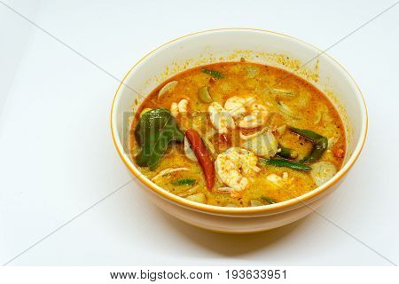Home Made River prawn spicy soup in bowl or Tom Yum Kung. thai spicy food. with copy space.