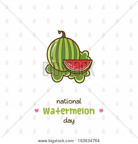National Watermelon Day. Vector Illustration of watermelon.