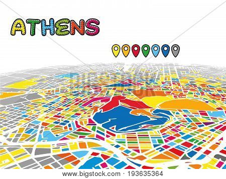 Athens, Greece, Downtown 3D Vector Map