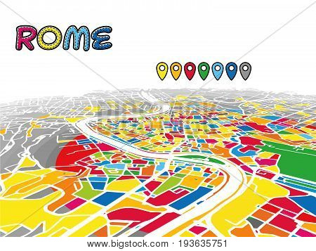 Rome, Italy, Downtown 3D Vector Map