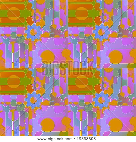Abstract geometric background multicolored. Regular intricate pattern with gear wheels and circles violet, purple, olive green, ocher brown and blue.