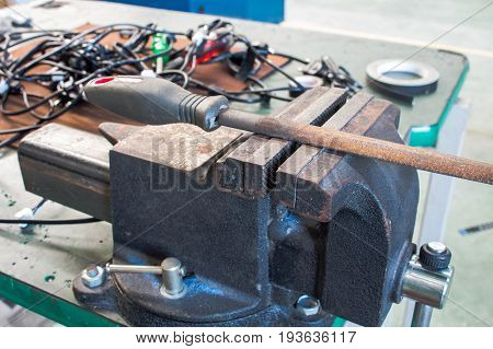 Steel filings and workplace clamps On the tool table