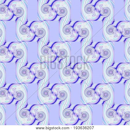 Abstract geometric seamless background. Regular spirals pattern in purple shades with beige and blue elements diagonally.