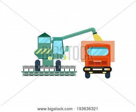 Agriculture combine harvester with tractor icon. Rural industrial farm equipment machinery, agricultural vehicle isolated vector illustration in flat design.