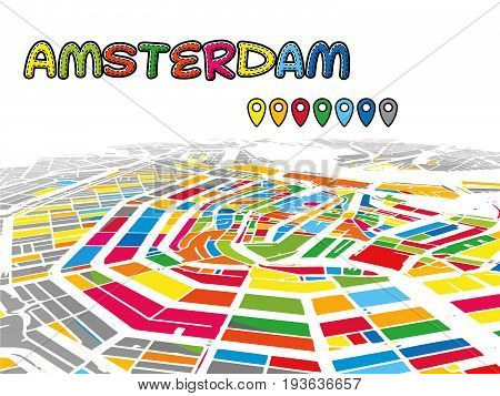 Amsterdam, Netherlands, Downtown 3D Vector Map