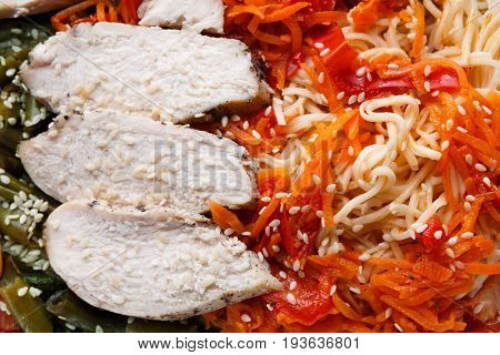 Healthy food background. Daily slimming menu. Organic restaurant food take away and delivery. Steamed turkey with durum wheat pasta, carrots and salad, closeup