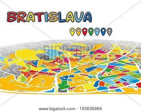 Bratislava, Slovakia, Downtown 3D Vector Map