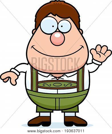 Cartoon Lederhosen Boy Waving