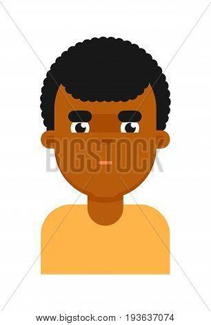 Thoughtful facial expression of black boy avatar. Young african man face, people emoticon icon, emoji vector illustrations isolated on white background.