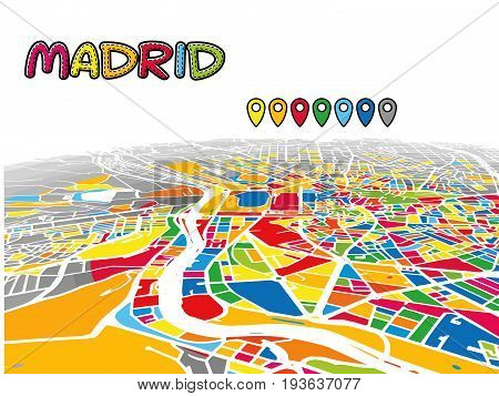 Madrid, Spain, Downtown 3D Vector Map