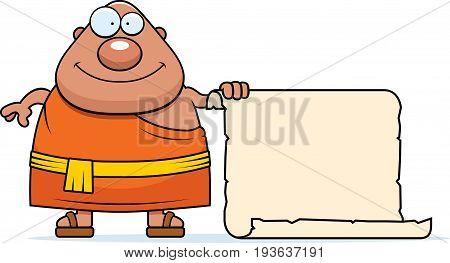 Cartoon Buddhist Monk Sign