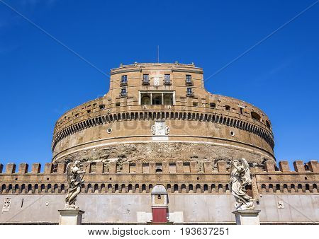 front view of the famous Castel Sant Angelo (castle of the holy angel) in Rome Italy