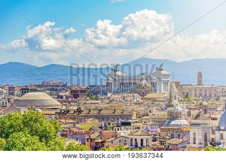 Panoramic view of rome with the Capitoline hill Vittoriano and Pantheon Dome in evidence