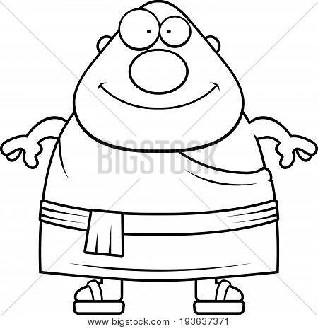 Happy Cartoon Buddhist Monk
