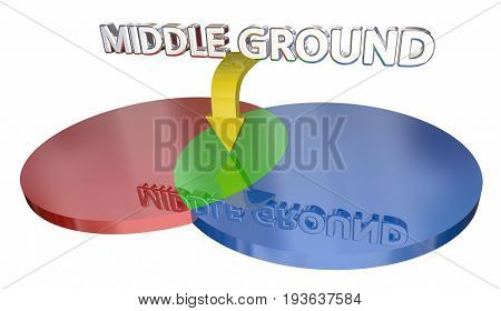 Middle Ground Compromise Negotiation Venn Diagram 3d Illustration