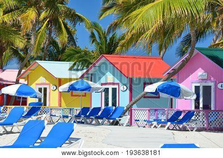 Colorful bungalows on the Eleuthera island beach Bahamas