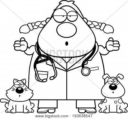 Confused Cartoon Veterinarian