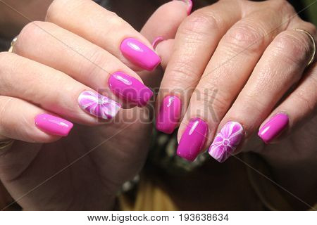 Manicure Nail Design With Flower