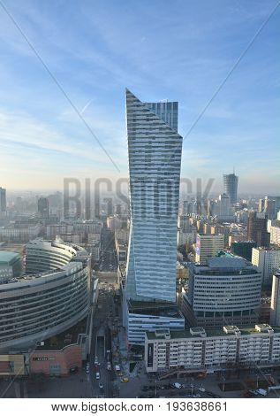WARSAW POLAND - NOVEMBER 26 2016 : City view from Palace of Culture and Science