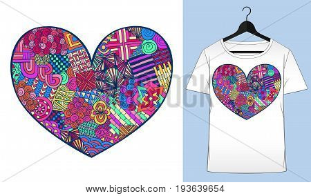 Heart t-shirt. Valentines day. Zentangle heart shape. Colorful zentangle doodle. T-shirt simple mockup. Vector illustration for fabric or denim. Fashion design.